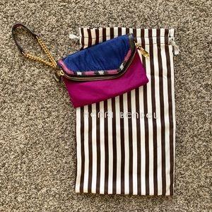 Henri Bendel Navy/Purple Wristlet with Storage Bag